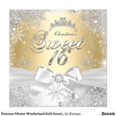 Princess Winter Wonderland Gold Sweet 16 Party 5.25x5.25 Square Paper Invitation Card