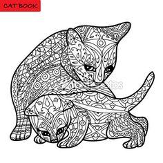 Madre de CAT y su libro de gato de gatito - libro para colorear para adultos - zentangle — Vector de stock