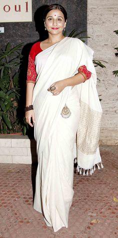 Vidya Balan in a Simple White and Silver Saree
