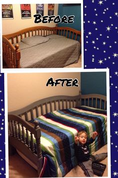 Gray chalk paint kid's bed makeover.