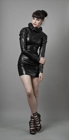 Image of Black Faux Leather Dress