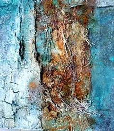 50x50 mixed media by Sonja Bittlinger.  --color, and cracking (old aged)---as well as thread for added texture