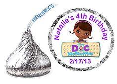 216 Doc McStuffins Birthday Party Favors Hershey Kiss Kisses Labels | eBay