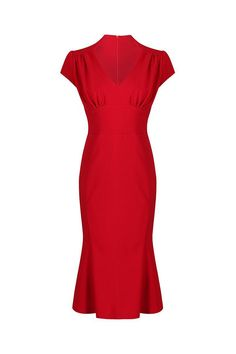 Red Cap Sleeve Peplum Hem V Neck Bodycon Pencil Dress