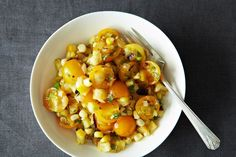 Tomato Salad with Corn, Summer Squash and Roasted Onions - I've had a similar version of this with a diced mild cheese.  Very light and perfect for a summer BBQ!