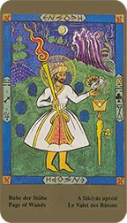 Page of Wands from the Kazanlar Tarot at TarotAdvice Page Of Wands, Tarot Reading, Tarot Decks, Tarot Cards, Knights, Queens, Art Gallery, Happy, Painting