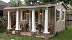 Incredible backyard storage shed makeover design ideas - Modern Backyard Storage Sheds, Backyard Sheds, Backyard Retreat, Backyard Studio, Garden Sheds, Backyard House, Backyard Cottage, Man Cave Backyard Ideas, Backyard Cabana