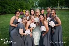 Julie Plummer's bridal party in Charcoal Grey long Henkaa dresses