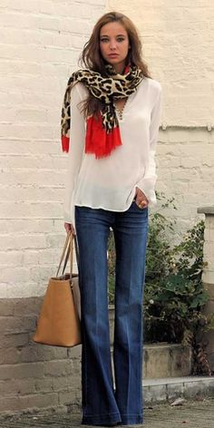 Image result for how to style ombre scarf with jeans