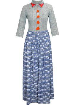 Blue yarn dyed maxi dress by Ka Sha