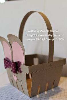 Bunny Basket Step Use mini silver brads to attach the handle to the basket. Homemade Easter Baskets, Easter Gift Baskets, Easter Projects, Easter Crafts, Spring Crafts, Holiday Crafts, Stampin Up, Paper Bunny, Berry Baskets