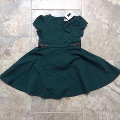 NWTS Janie And Jack Girls 12-18 Months Horse Equestrian Green Bow Dress #JanieandJack