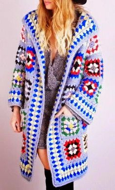Crochet Square Granny Cardigan Jacket or Coat