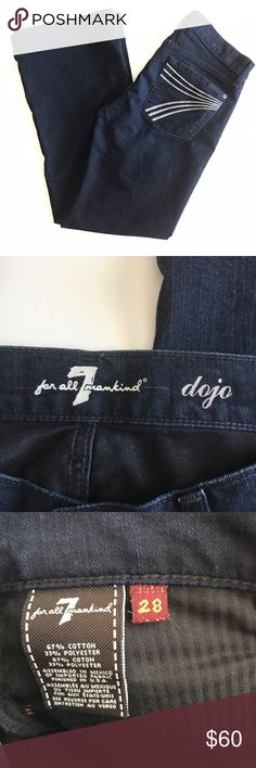 """7 For All Mankind Dojo jeans. Wide leg, flare Dojo jeans. Size 28. Waist measures 15 3/4"""" flat across. Inseam 29"""". Dark wash. Excellent used condition. Minimal wear to bottoms. Original hems. Sorry, no trades & I am unable to model. 7 For All Mankind Jeans"""