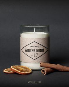 Upwined Candles Duftkerze Winter Night in einer Weinflasche