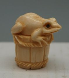Hand Carved Japanese Ox Bone Netsuke - Frog on a Bucket - Oriental - Signed