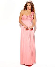 City Studios Juniors Dress, Sleeveless Pleated Rosette Gown - Juniors Prom Dresses - Macy's... Juniors, but it's only $89