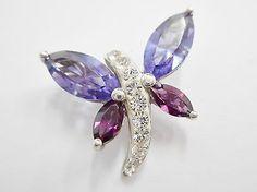 Genuine Sterling Silver Purple Cubic Zirconia Butterfly Pendant #1754