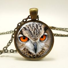 Owl Necklace, Owl Art Pendant Charm With Necklace Chain, Bronze (00...... | CellsDividing - Jewelry on ArtFire