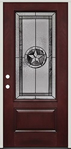 Texas Star 3/4 Lite Pre-finished Mahogany Fiberglass Prehung Door Unit #70 & Custom leaded glass Texas Star bevel window~would be great in the ...