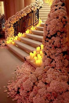 100+ Must-Have Wedding Photos (Ideas Gallery & Tips) ❤ must-have wedding photos beautifull stairs with candles-and flowers bridesdaydream ❤ See more: http://www.weddingforward.com/must-have-wedding-photos/ #wedding #bride #weddingdecorations #weddingdecor