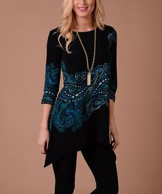 Another great find on #zulily! Black & Teal Paisley Sidetail Tunic #zulilyfinds