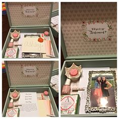 """Will you be my bridesmaid box."" This is how I asked my bridesmaids to be in my wedding. Cute poem, paint chips in our wedding colors, photos of possible dresses and flowers etc., detailed cards about the wedding, photos with each girl and nail polish. They loved it!! :)"