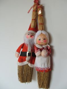 Vintage ENESCO Santa and Mrs Claus Broom Doll Ornaments by lookonmytreasures on…