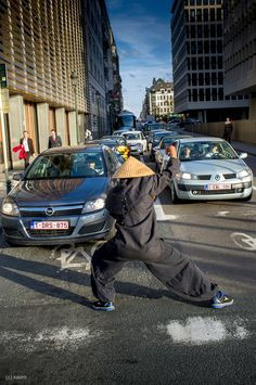 The last ninja. Brussel, heavy traffic. The cars just got green light when this guy blocked the road doing ninja moves..