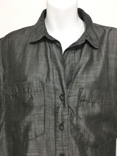 b3056be9a5537 Cloth  amp  Stone Anthropologie Womens M Gray Tencel Long-Sleeve Shirt  Button-Down
