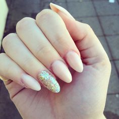 """So in love with my nails. Sculptures almond shaped acrylics done at """"Pure Northampton""""... Nude and sparkle, so pretty!!"""