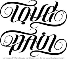 """Love"" & ""Pain"" Ambigram by tiffanyharvey, via Flickr"