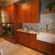 Glass Bubble Tile Laundry Room with Apron Sink Bubble Glass Laundry Room Cabinets, Basement Laundry, Laundry Room Organization, Laundry Room Design, Laundry Rooms, Laundry Baskets, Cherry Cabinets, Blue Cabinets, Walnut Cabinets