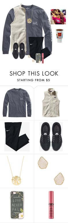 """""""Day 2/ She's not even drop dead gorgeous. But she kills me anyway"""" by raquate1232 ❤ liked on Polyvore featuring Vineyard Vines, Patagonia, NIKE, Moon and Lola, Kendra Scott, Casetify, NYX and 15daysofShawnwKarina"""