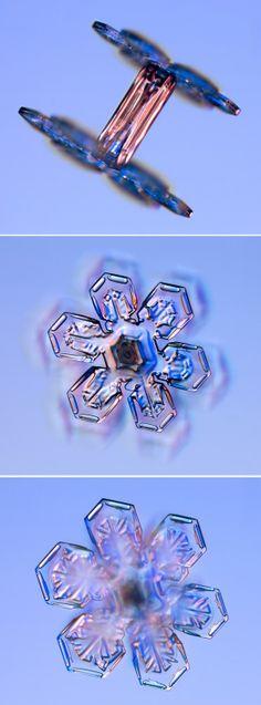 Real snowflakes shaped like thread spools.