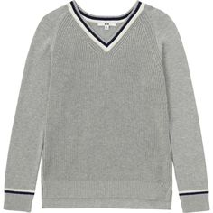 UNIQLO Women Cotton Cashmere Cricket Sweater ($40) ❤ liked on Polyvore featuring tops, sweaters, cashmere sweaters, stripe sweater, striped cashmere sweater, stripe top and striped sweater