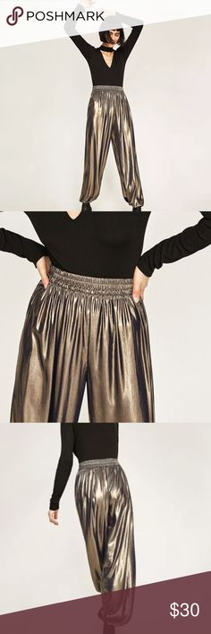 ZARA 2017 COLLECTION Flowing Metallic Trousers ZARA 2017 COLLECTION Vintage Style Flowing Metallic Trousers   Brand New  WITH TAG $69.00  BRAND: ZARA Color: Shiny Aged Gold Sizes: M  Product Details -High-rise -Loose fit -Flowing style -Stretch waist and hem -Lightweight, wrinkle-free fabric -Made with high class quality  -Size Type: Regular -Style: Ankle Length -Country/Region of Manufacture: China -Style #: 4786/254/836 -Inseam: 30  Fabric & Care -100% polyester -Hand wash Zara Pants…