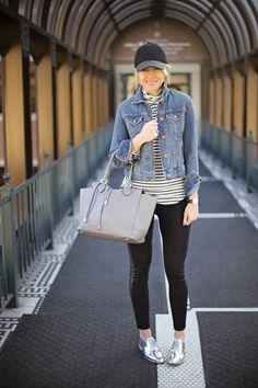 denim jacket + black denim or leggings + stripe shirt + baseball cap (optional!) + silver oxfords #fall #spring