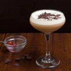 A Black Forest cake in martini form. Cherries, chocolate, whipped cream and booze.