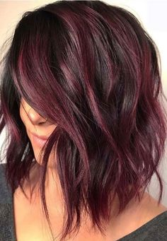 34 Latest Hair Color Ideas for 2019 - Get Your Hairstyle Inspiration for Next Se. - 34 Latest Hair Color Ideas for 2019 – Get Your Hairstyle Inspiration for Next Season – Latest H - Hair Color Shades, Hair Color Purple, Deep Burgundy Hair Color, Deep Auburn Hair, Purple Brown Hair, Violet Hair Colors, Brown Curls, Plum Hair, Hair Color Auburn