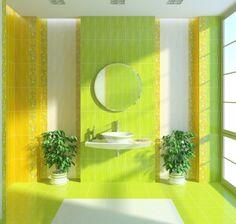 Красивая салатовая ванная с желтым и оранжевым