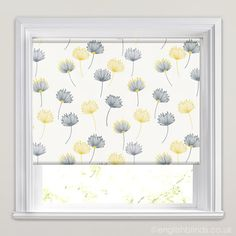Dandelion Patterned Roller Blinds in White, Grey, Yellow & Blue