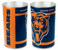 These high quality metal waste baskets are great for a rec room, child's room, bathroom or anywhere you want to show your team spirit! They are tall, and ab Stitch Games, Mack Attack, Spirit Store, Nfc North, Bears Football, Nfl Fans, Chicago Bears, Dallas Cowboys, Canning