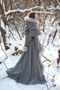 Heritrix of the Winter Wool Coat - medieval renaissance cloak cape fantasy ONLY $885