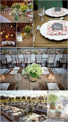 Table ideas: I don't think our tables are wood, so we'll we'll want a fabric to cover the tables, plus a runner. Brown/beige linen with white runners/place mats, or white linens with brown runners/place mats?