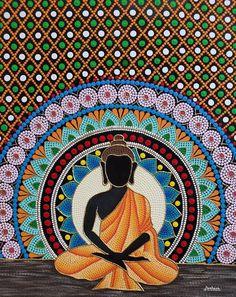 Mandala Canvas, Mandala Artwork, Mandala Painting, Mandala Drawing, Buddha Painting, Dot Art Painting, Buddha Art, Mandala Art Therapy, Mandala Art Lesson