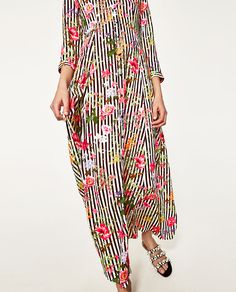 Image 2 of LONG STRIPED AND FLORAL PRINT DRESS from Zara