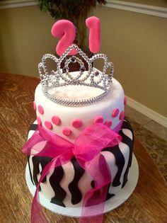 Zebra Print Cake Two tier all fondant covered cake. Love this design, I do alot of zebra. Pretty Cakes, Cute Cakes, Beautiful Cakes, Amazing Cakes, 21st Birthday Cake For Girls, 21st Birthday Cakes, Birthday Ideas, 21 Birthday, Zebra Print Cakes