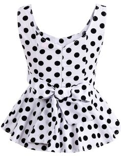 To find out about the White V Neck Sleeveless Polka Dot Bow Top at SHEIN, part of our latest Tank Tops & Camis ready to shop online today! Shopping Outfits, Kids Blouse Designs, Girl Fashion, Fashion Dresses, Bow Tops, Polka Dot Blouse, Polka Dots, Cute Blouses, White V Necks