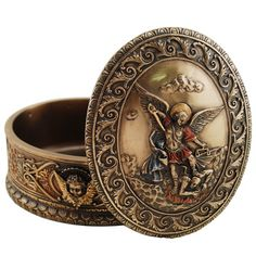 This St. Michael keepsake box is perfect for rosaries and jewelry - and it can be personalized.